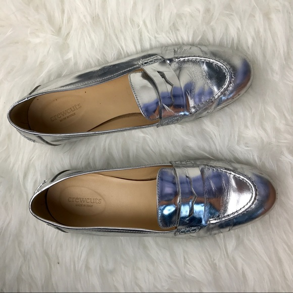 Crew Loafers Metallic Silver J Shoes 5 Penny J Cuts CnqpR